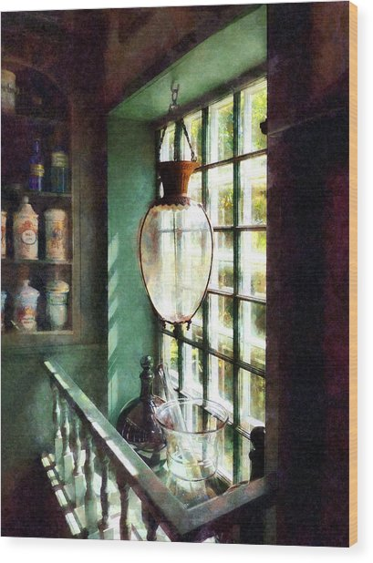 Pharmacy - Glass Mortar And Pestle On Windowsill Wood Print