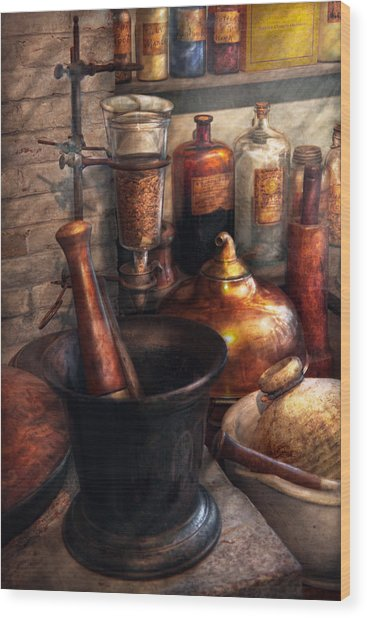 Pharmacy - Pestle - Pharmacology Wood Print