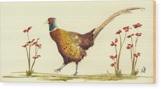 Pheasant In The Flowers Wood Print