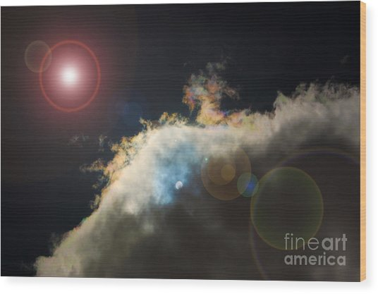 Phenomenon With Lens Flare Wood Print