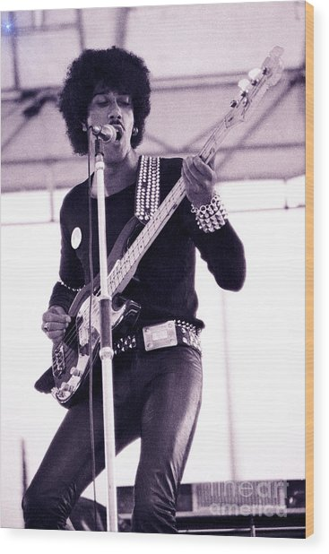 Phil Lynott Of Thin Lizzy Black Rose Star Effect Day On The Green 4th Of July 1979 - Unreleased No 3 Wood Print