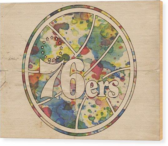 Philadelphia 76ers Retro Poster Wood Print
