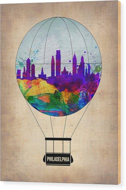 Philadelphia Air Balloon Wood Print