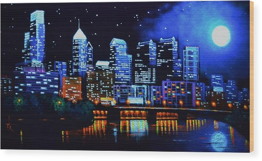 Philadelphia Black Light Wood Print