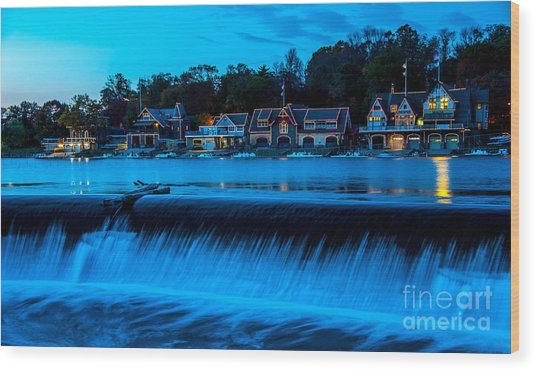Philadelphia Boathouse Row At Sunset Wood Print