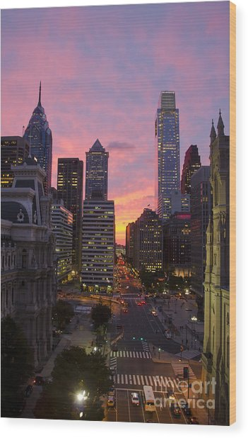 Philadelphia City Center At Sunset Wood Print