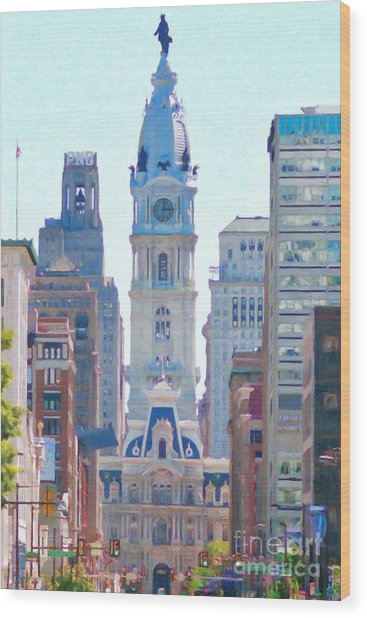 Philadelphia City Hall 20130703 Wood Print by Wingsdomain Art and Photography