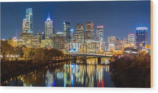 Philadelphia Cityscape Panorama By Night Wood Print