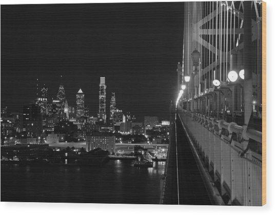 Philadelphia Night B/w Wood Print