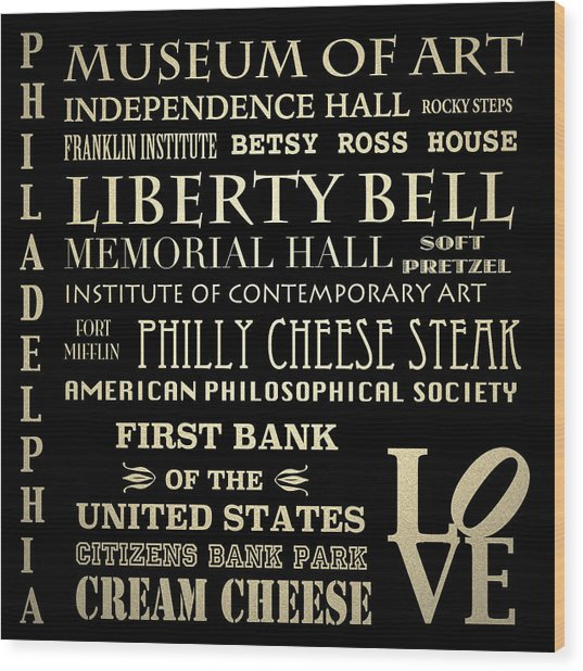 Philadelphia Pennsylvania Famous Landmarks Wood Print