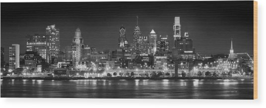 Philadelphia Philly Skyline At Night From East Black And White Bw Wood Print