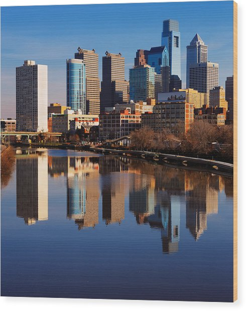 Philadelphia Reflected In The Still Watera Wood Print by Sophie James