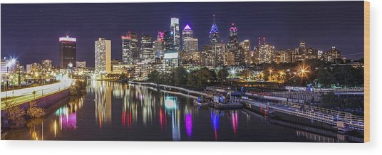 Philadelphia Skyline At Night Wood Print