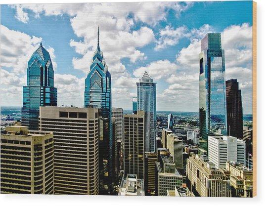 Philadelphia Skyline Wood Print by Frank Savarese