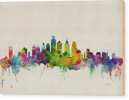 Philadelphia Skyline Wood Print