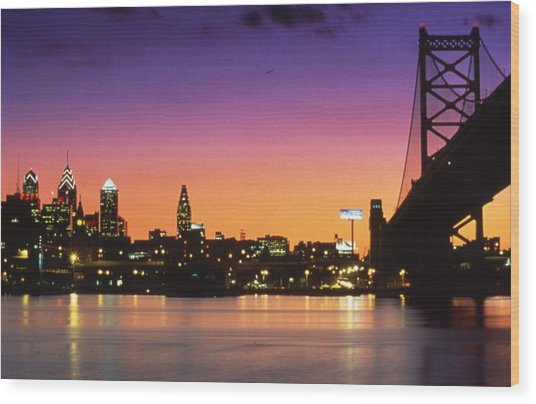 Philadelphia Skyline Wood Print by Retro Images Archive
