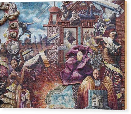 Philadelphia - Theater Of Life Mural Wood Print