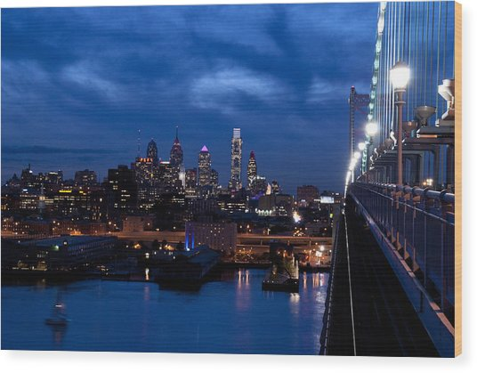 Wood Print featuring the photograph Philadelphia Twilight by Jennifer Ancker