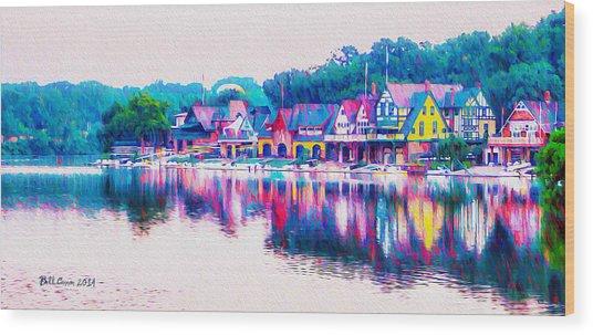 Philadelphia's Boathouse Row On The Schuylkill River Wood Print