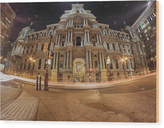 Philadelphia's Golden Glow  Wood Print