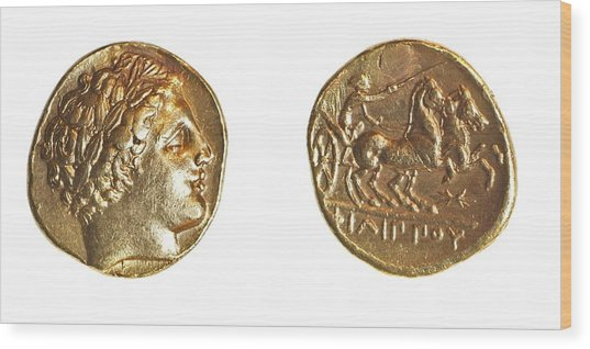 Philip II Gold Coin Wood Print by Science Photo Library