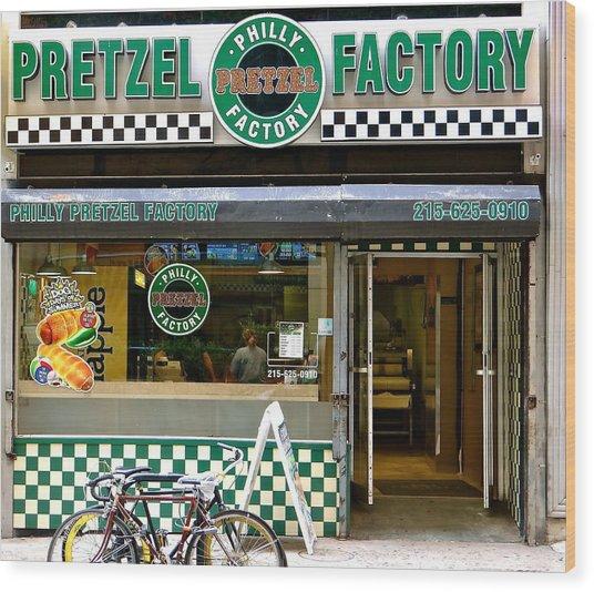 Philly Pretzel Factory Wood Print
