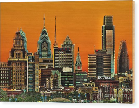 Philly Sunset Wood Print