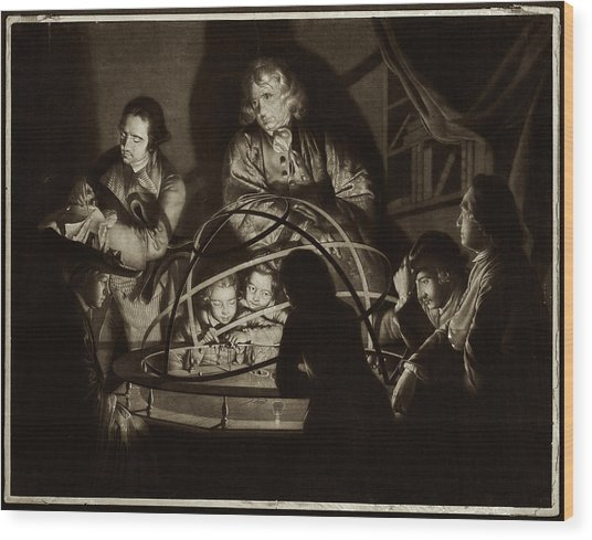 Philosopher Giving Lecture On The Orrery Wood Print by Museum Of The History Of Science/oxford University Images