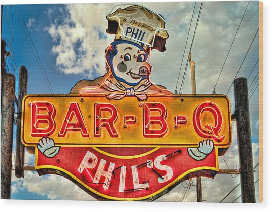 Phils Barbeque Wood Print