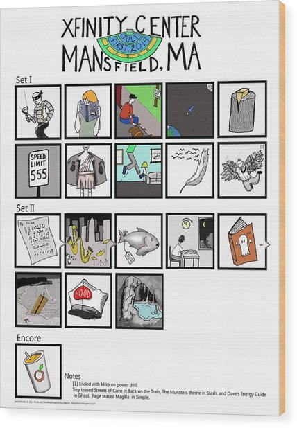 Phish 7/1/14 Mansfield Illustrated Setlist Wood Print