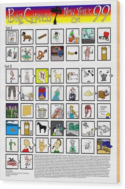 Phish Big Cypress Nye 99 Illustrated Setlist Wood Print