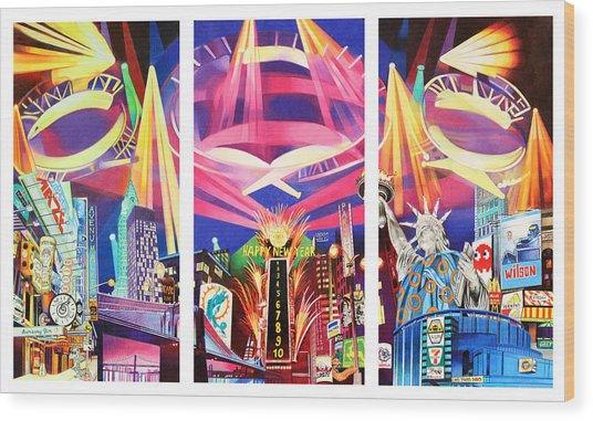Phish New York For New Years Triptych Wood Print