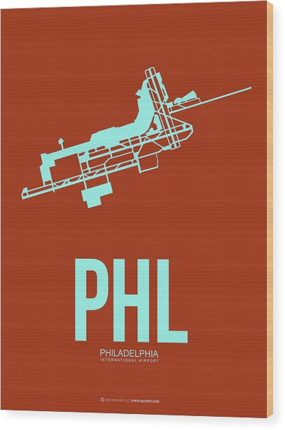 Phl Philadelphia Airport Poster 2 Wood Print