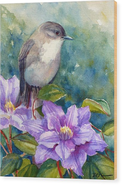 Phoebe And Clematis Wood Print