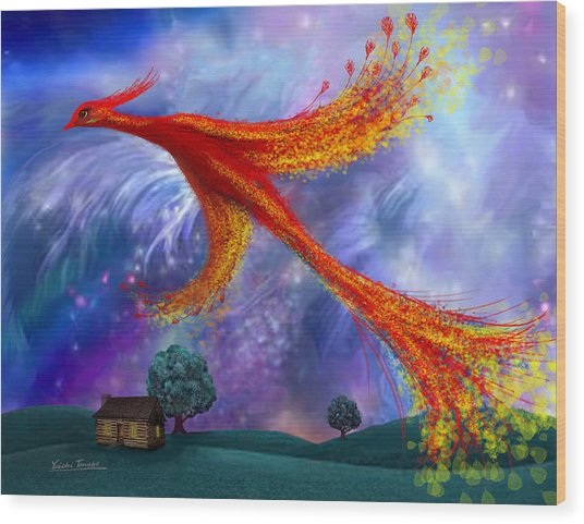 Phoenix Flying At Night Wood Print