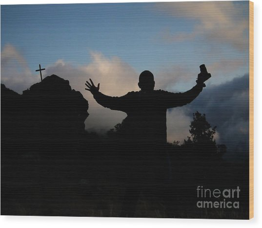 Photographer Shadow With Cross Wood Print