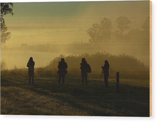 Photographers In The Mist Wood Print