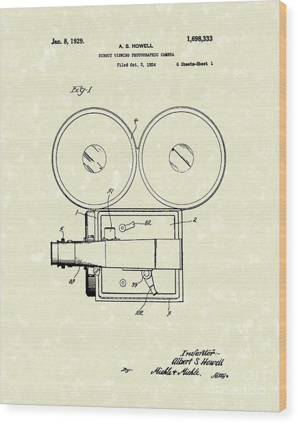 Photographic Camera 1929 Patent Art Wood Print