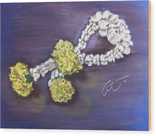 Phuang Malai Jasmine Flower Garland Wood Print