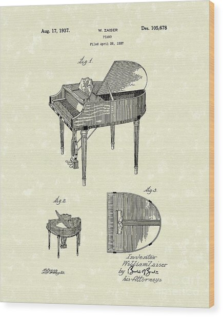 Piano 1937 Patent Art Wood Print