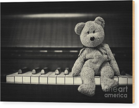 Piano Bear Wood Print