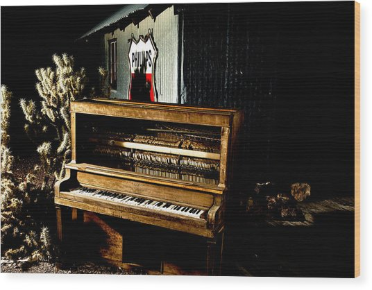 Wood Print featuring the photograph Piano In The Dark.  by James Sage