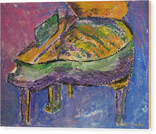 Piano Purple Wood Print