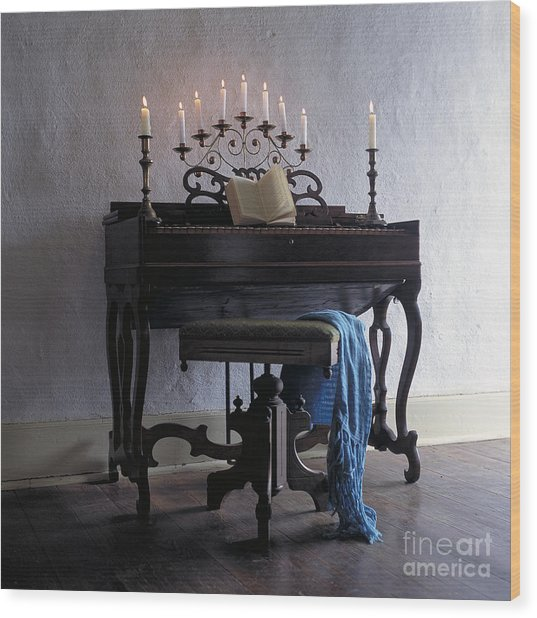 Piano With Candelabra Wood Print