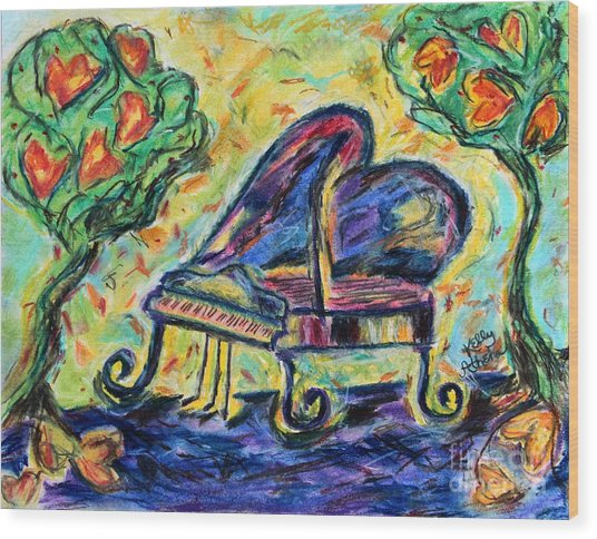 Piano With Heart Trees Wood Print by Kelly Athena
