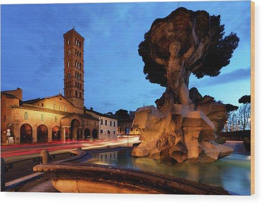Piazza Della Bocca Della Verita' Wood Print