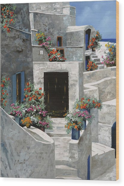 piccole case bianche di Grecia Wood Print