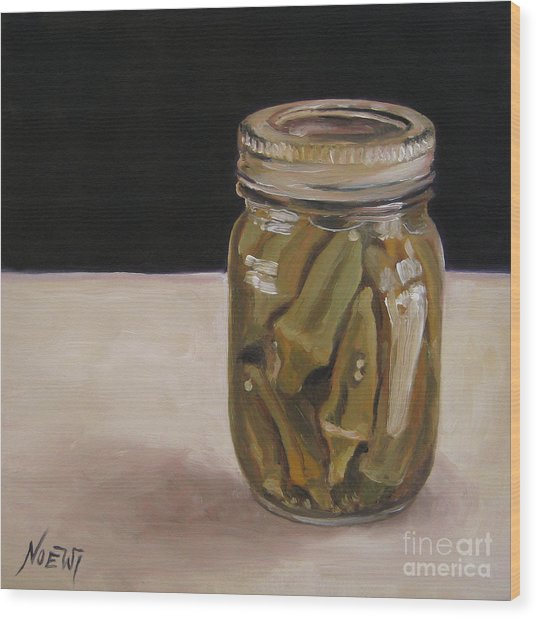 Pickled Okra Wood Print