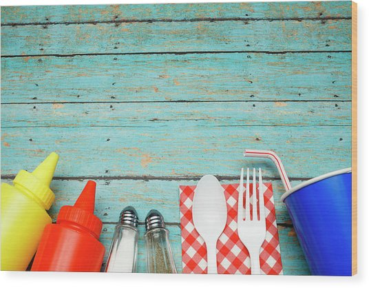 Picnic Essentials Wood Print by Dustypixel