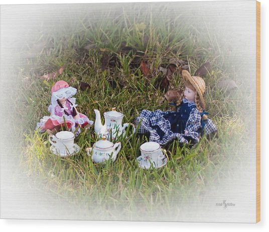 Picnic For Dolls Wood Print
